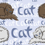 Dark Brown And White Fluffy Cat Seamless Pattern. Vector Illustration Royalty Free Stock Image