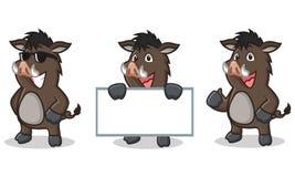 Dark Brown Wild Pig Mascot happy Royalty Free Stock Photos