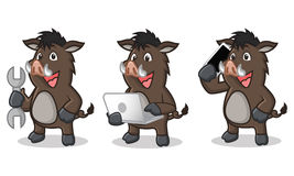 Dark Brown Wild Pig Mascot with laptop Stock Photography