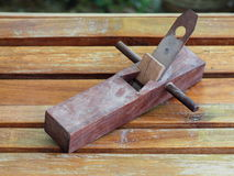 Dark brown wood plane, planer Stock Photos