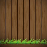 Dark brown Wood Vector Background Texture and green grass Stock Photo