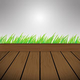 Dark brown Wood Vector Background Texture and green grass Royalty Free Stock Image