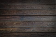 Dark brown wooden background, horizontal plank texture. Close up wood stripes. Empty place for text, copy space. Use for backdrop or design element in natural stock photo