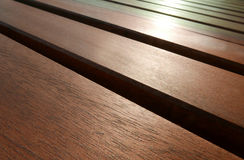 Dark brown wooden outdoor table Royalty Free Stock Photography
