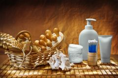 Dark Burn Composition Of Care Accessories Royalty Free Stock Image