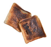 Dark burned sandwich bread isolated white background Stock Photos