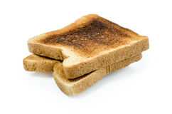 Dark burned sandwich bread  white background  : Clipping path included Royalty Free Stock Photography