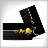 Dark business card dsign with gold shapes. And light lines stock illustration