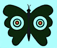 Dark Butterfly with Target Symbols. Is conceptual idea of tenderness , vulnerability exposed to danger and terror Royalty Free Stock Photography