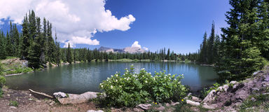 Dark Canyon lake in Utah Panoramic Royalty Free Stock Photos