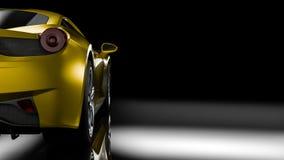 Dark car silhouette 3D illustration. Dark background with car silhouette on the left side. 3d Illustration Royalty Free Stock Photos
