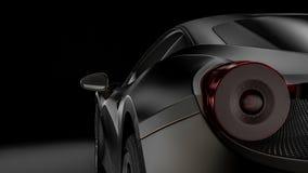Dark car silhouette 3D illustration. Dark background with car silhouette on right side. 3d Illustration Stock Photos