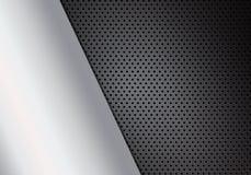Dark carbon fiber macro background with metal texture, stock vec. Tor illustration, eps 10 royalty free illustration