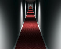 Dark carpeted hallway Royalty Free Stock Images