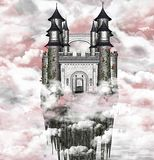 Dark castle. Dark, romantic castle over the clouds. A wonderful background Royalty Free Stock Photo
