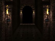 Dark castle corridor. Dark medieval castle corridor with columns and torches 3d rendering Royalty Free Stock Photography