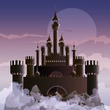 The dark castle. Illustration with dark castle on the mountain during foggy dawn hours drawn in fantasy style stock illustration