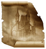 Dark Castle on a old paper scroll. A dark castle in the clouds on a old paper scroll Royalty Free Stock Photography