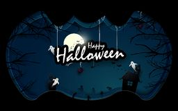 Dark castle, White ghosts and old trees with Halloween text in bat shape Stock Images