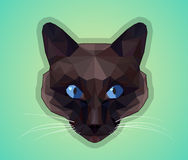 Dark cat with blue eyes - polygonal style. Royalty Free Stock Photo