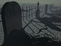 Dark Cemetary. A dark hazy cemetary four tombstones sit along a rickety fence Vector Illustration