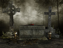 Dark cemetery with crosses Royalty Free Stock Image