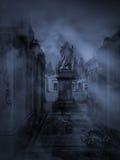 Dark cemetery. Dark and foggy old European cemetery Royalty Free Stock Photo