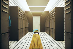 Dark changing room. Dark gym changing room interior. 3D Rendering Stock Photography