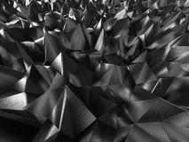 Dark chaotic low poly metallic background. 3d render illustration Royalty Free Stock Photography