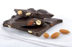 Dark chocolate almond bark Stock Photos