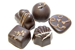 Dark Chocolate Assortment Isolated Stock Photo