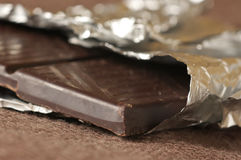 Dark chocolate bar Stock Photos