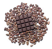 Dark chocolate bar and cocoa beans Royalty Free Stock Photo
