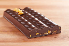 Dark chocolate bar with corn interior Royalty Free Stock Photography
