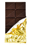 Dark Chocolate Bar in foil covers isolated on white Royalty Free Stock Images