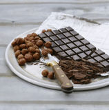 Dark chocolate bar and hazelnuts Stock Image