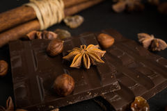 Dark chocolate bar with nuts and spices Royalty Free Stock Photography