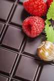 Dark chocolate bar with raspberry Stock Photo