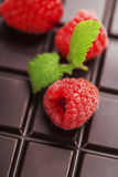 Dark chocolate bar with raspberry Royalty Free Stock Photo