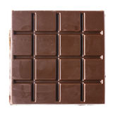 Dark chocolate bar. Square dark bitter chocolate bar isolated on white background. Top view point Royalty Free Stock Images