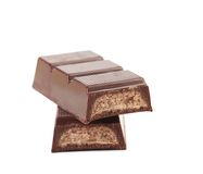 Dark chocolate bar with sweet creamy filling. Stock Image