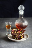 Dark chocolate bark with pistachio,cranberry and sultanas Stock Photo