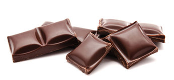 Dark chocolate bars stack isolated on a white. Background Royalty Free Stock Image