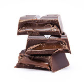 Dark chocolate bars stack isolated Royalty Free Stock Photo