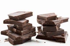 Dark chocolate bars stack Stock Photos
