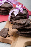 Dark chocolate biscuits Stock Photo