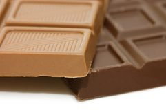 Dark chocolate block isolated Royalty Free Stock Images