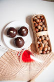 Dark chocolate bonbons Stock Images