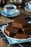 Dark Chocolate Brownies with Hot Tea Stock Photos