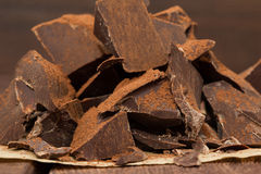 Dark chocolate with cacao on table Royalty Free Stock Image